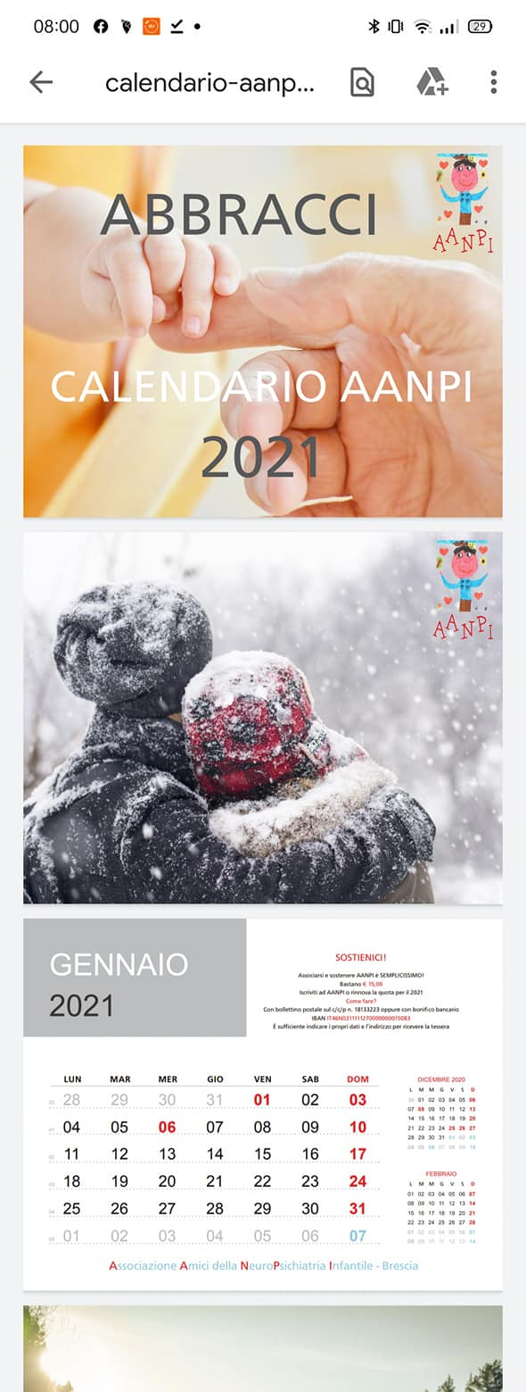 """Calendario AANPI 2021 – """"Abbracci"""""""
